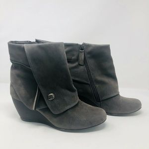 Blowfish Faux Leather Zip Up Wedge Ankle Boots S7